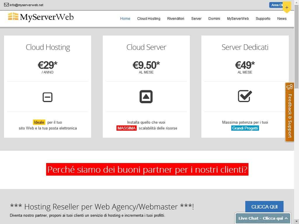 Pagina iniziale di Myserverweb