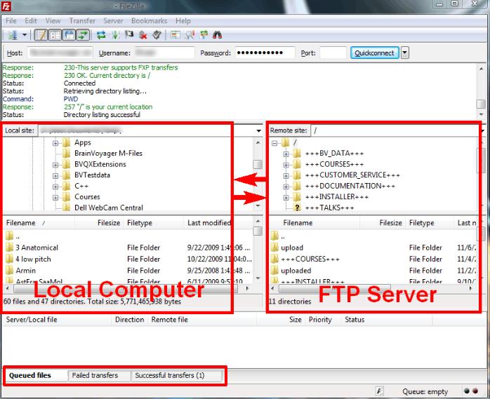 FileZilla caricamento file
