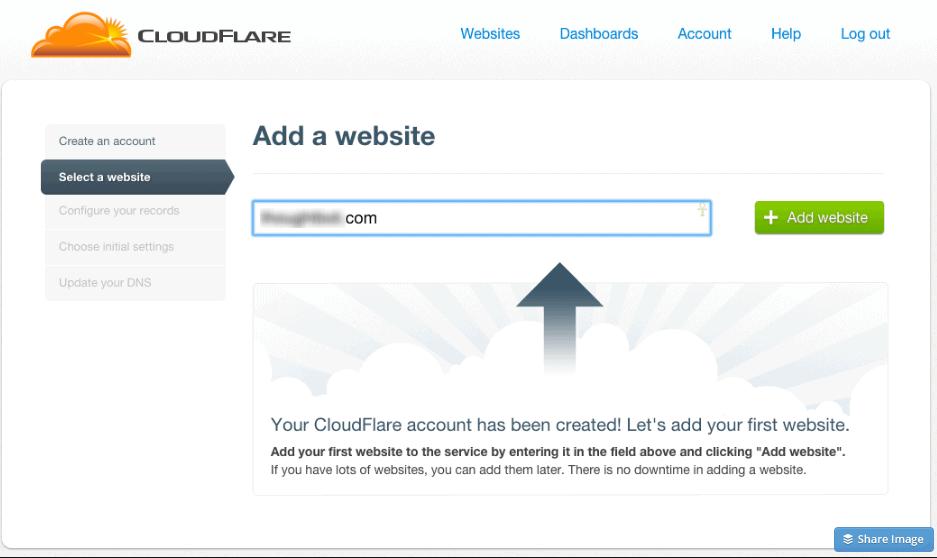 Aggiungere un sito su Cloudflare